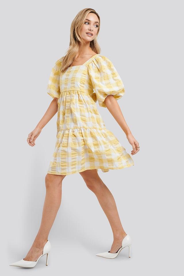 Puff Sleeve Smock Mini Dress Yellow