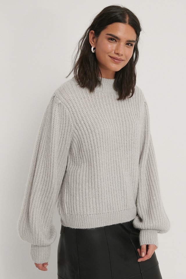 Light Grey Puff Sleeve Knitted Sweater