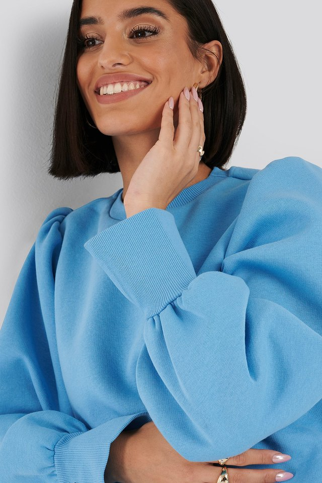 Puff Sleeve Split Cuff Sweatshirt Blue