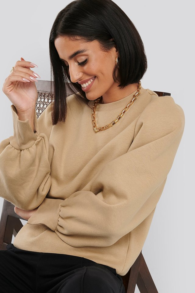 Puff Sleeve Split Cuff Sweatshirt Beige