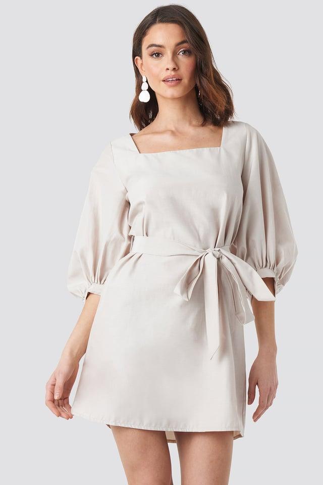 Puff Sleeve Square Neck Tie Dress Beige