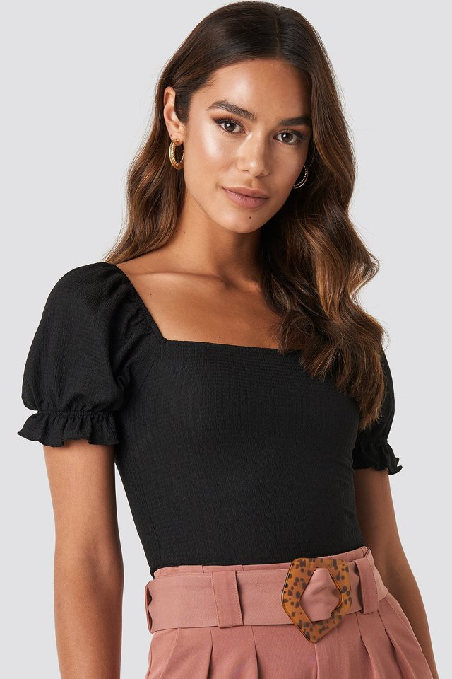Puff Sleeve Square Neck Top Black