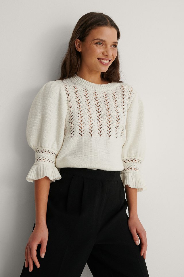 White Recycled Puff Sleeve Structure Knitted Sweater