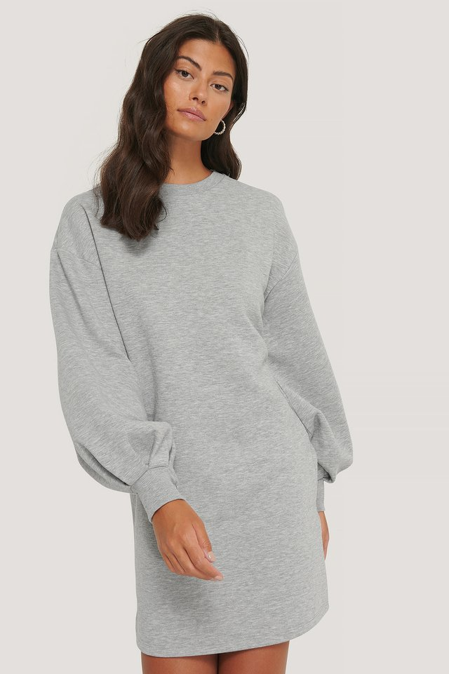 Puff Sleeve Sweatshirt Dress Grey Marl