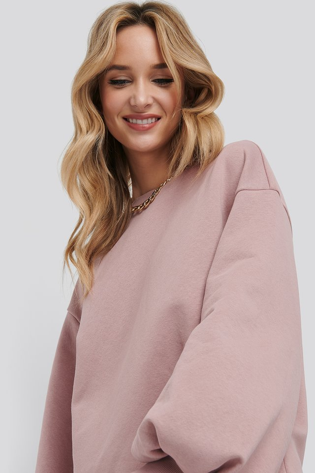 Puff Sleeve Sweatshirt Dress Pink