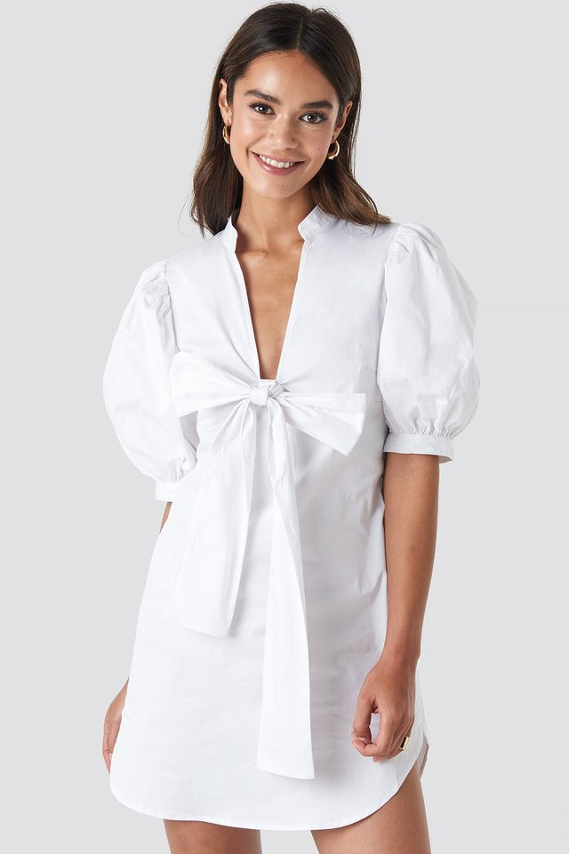 White Puff Sleeve Tied Front Short Dress