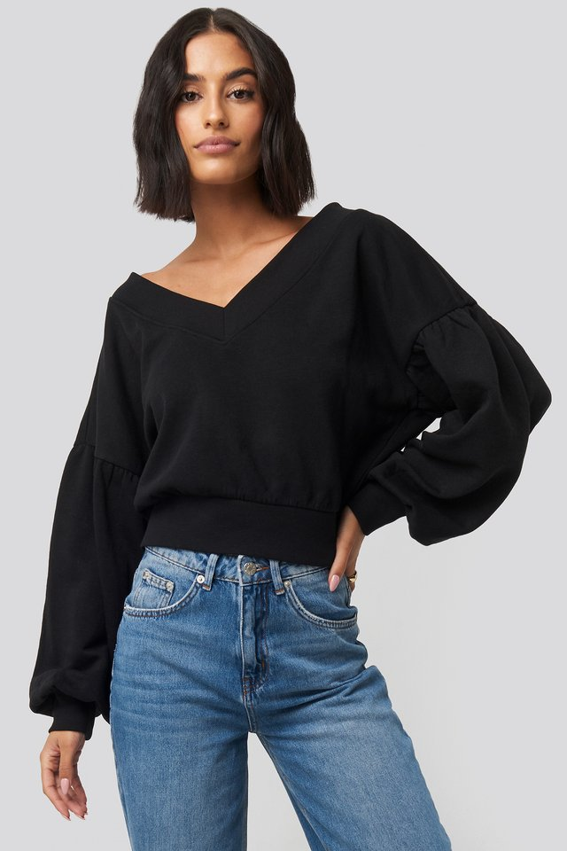 Puff Sleeve V-neck Sweatshirt Black