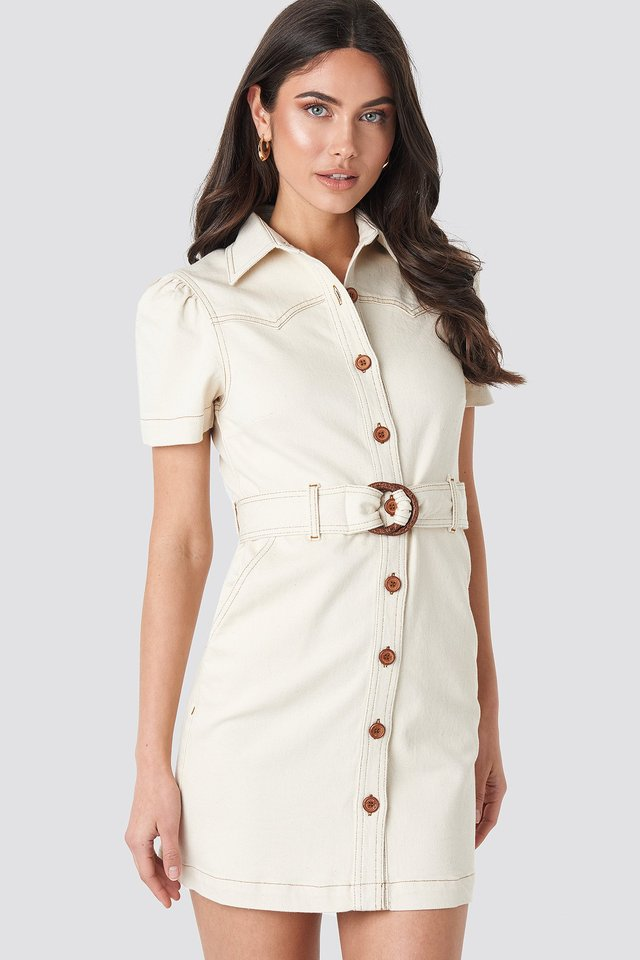 Puff Sleeve Western Denim Dress Beige