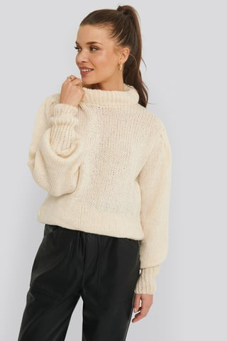 Off White Puff Sleeve Wide Neck Knitted Sweater