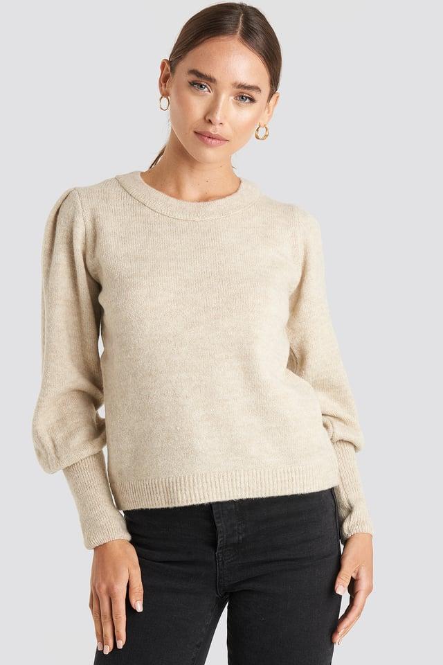 Puff Sleeve Wide Rib Knitted Sweater NA-KD