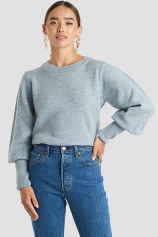Dusty Blue Puff Sleeve Wide Rib Knitted Sweater