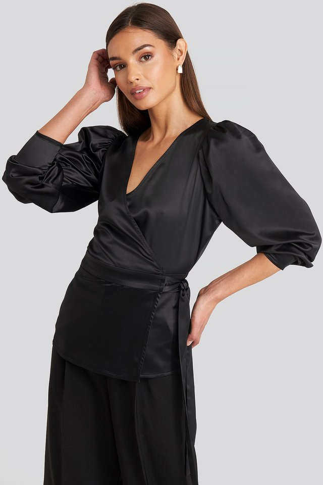 Puff Sleeve Wrap Blouse Deep Black