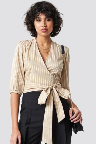 Stripe Puff Sleeve Wrap Crop Top
