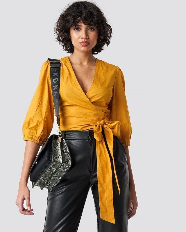 Puff Sleeve Wrap Crop Top Mustard Yellow