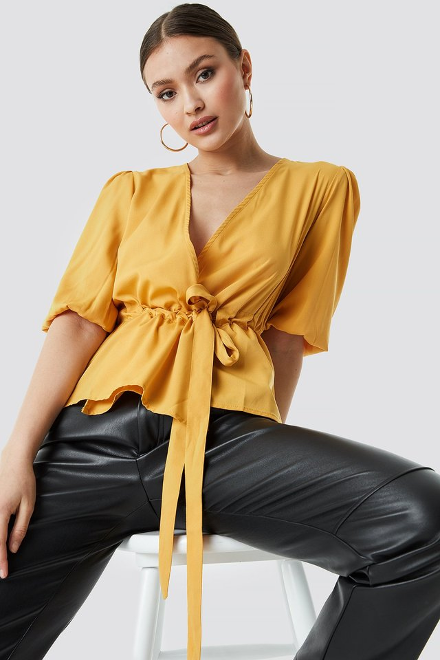 Puff Sleeve Wrap Front Top Mustard Yellow