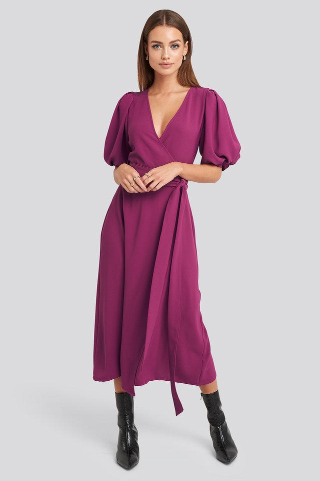 Puff Sleeve Wrap Midi Dress Pink