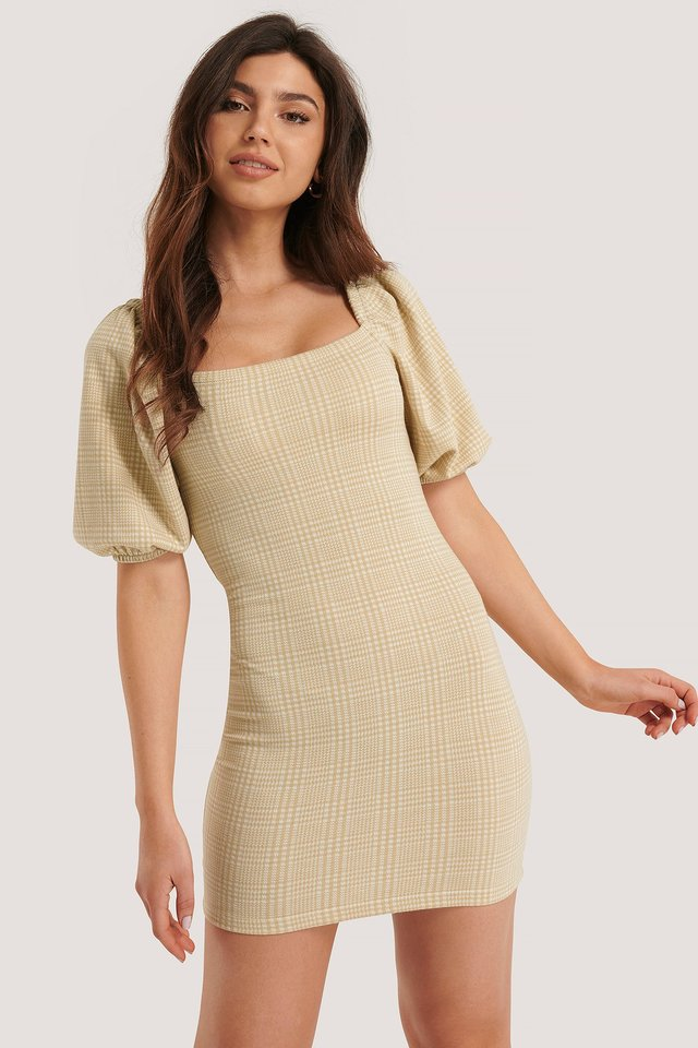 Puff Sleeved Check Dress Beige Check