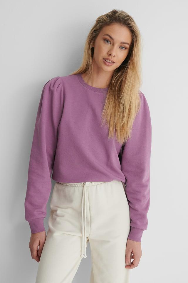 Purple Puff Sleeved Sweatshirt