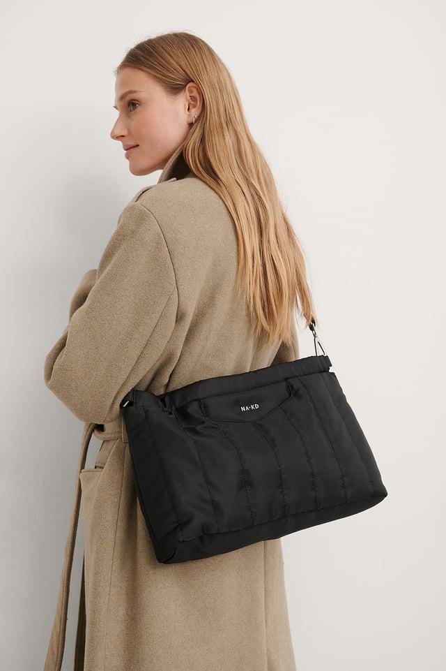 Black Puffed Nylon Clutch Bag