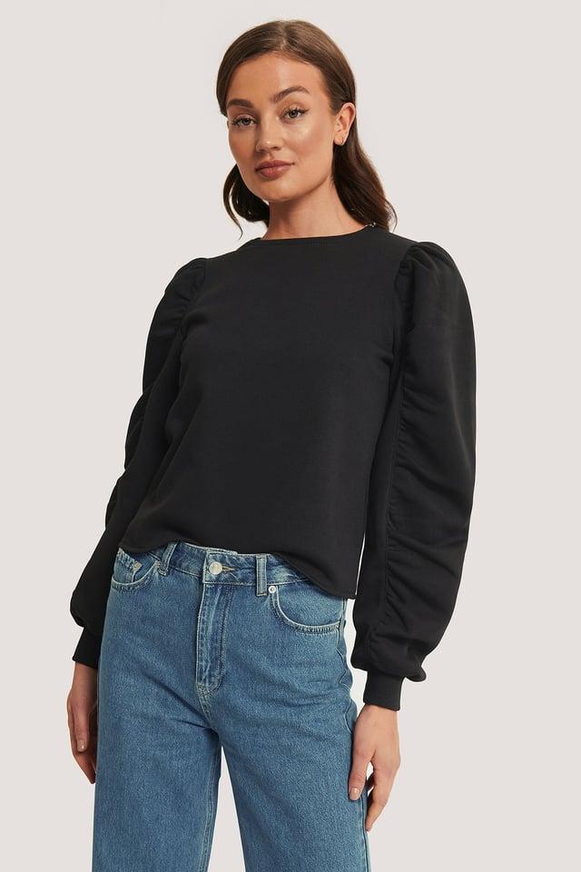 Black Puffed Sleeve Sweatshirt