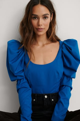 Blue Puffy Long Sleeve Blouse