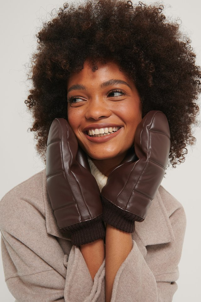 Puffy Quilted Mittens Brown