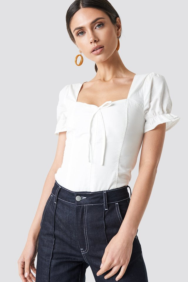 Puffy Shoulder Corset Top White