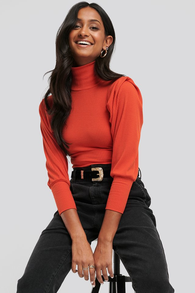 Puffy Shoulder Ribbed Top Red