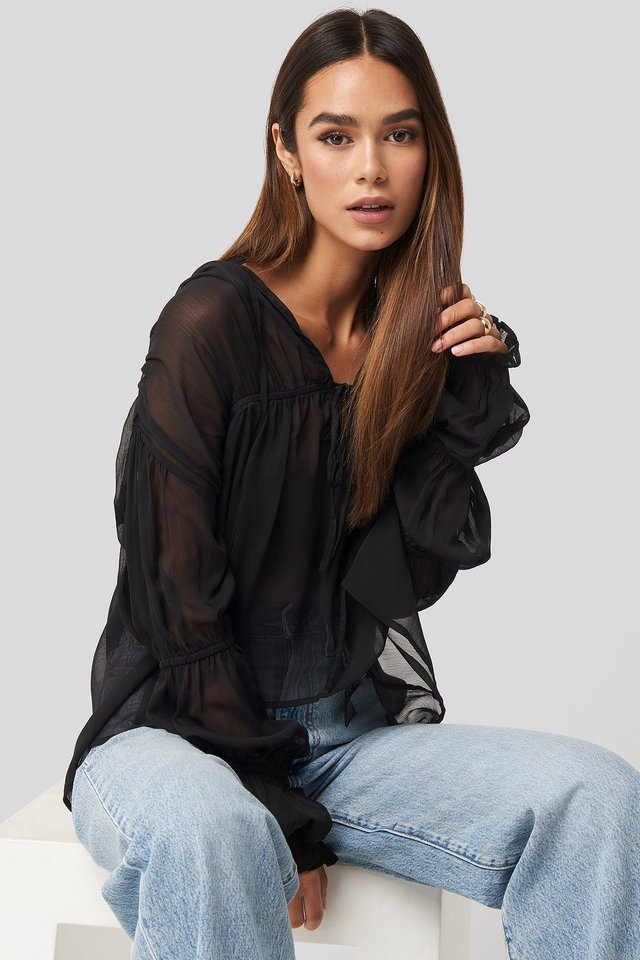 Puffy Sleeve Draped Chiffon Blouse Black