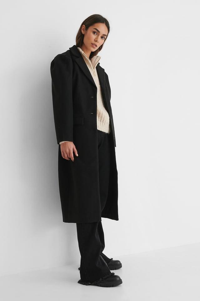 Black Puffy Sleeve Marked Waist Coat