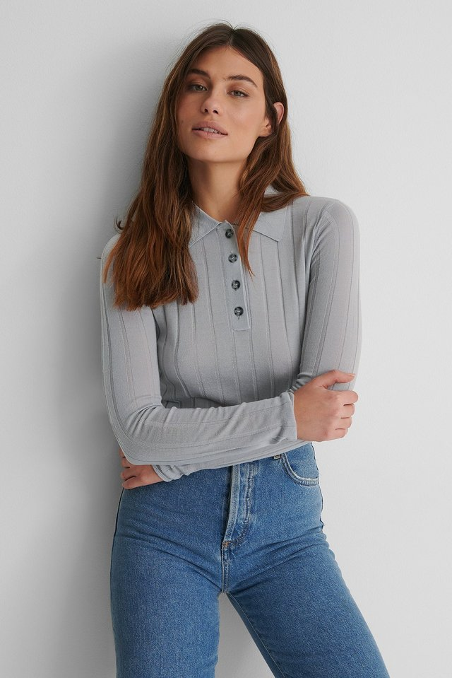 Grey Pure Wool Ribbed Knitted Sweater