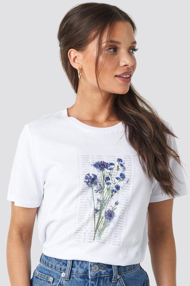 Purple Flower Printed Tee White