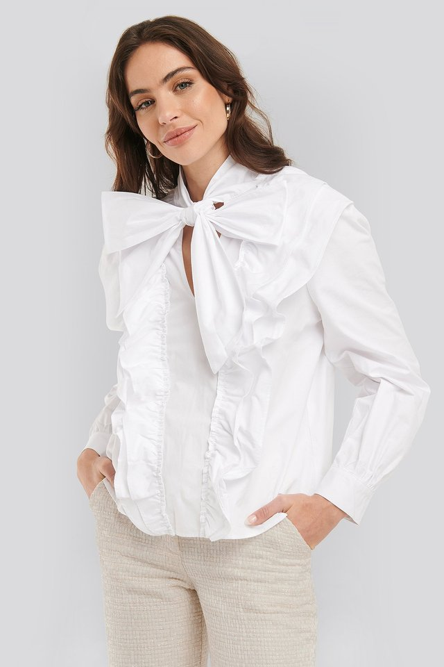 Pussy Bow Frill Blouse Optical White