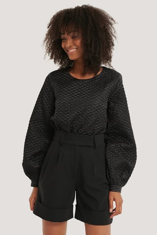 Black Quilted Balloon Sleeve Blouse