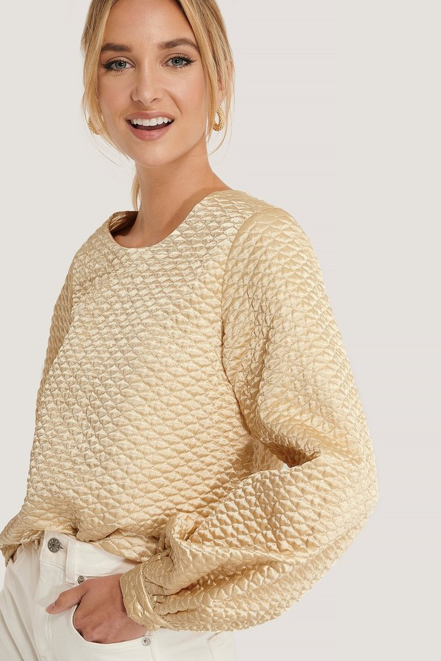 Beige Quilted Balloon Sleeve Blouse