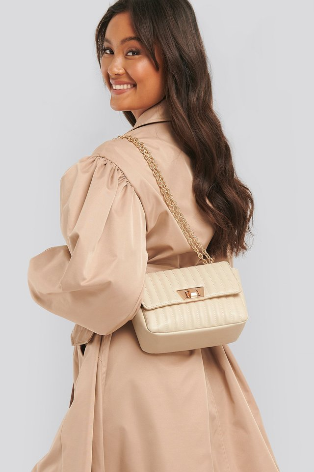 Quilted Chain Strap Bag Nude