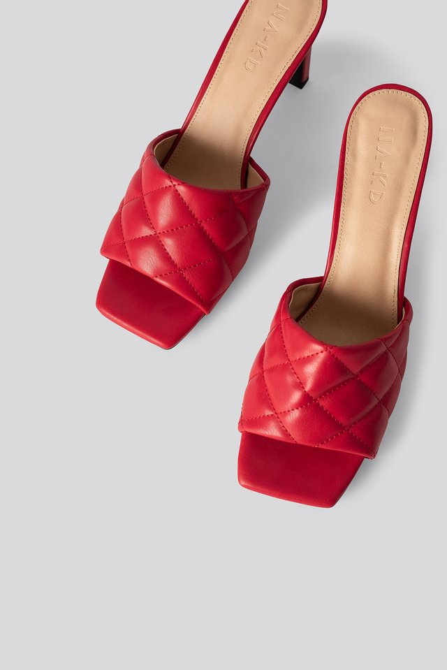 Quilted Heeled Mules Raspberry