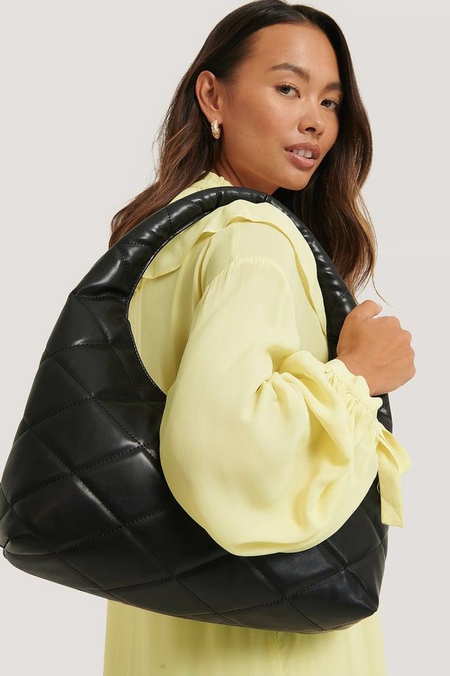Black Quilted Hobo Bag