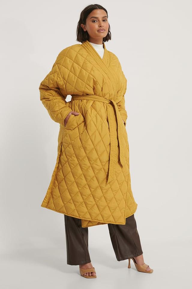 Quilted Kimono Coat Mustard