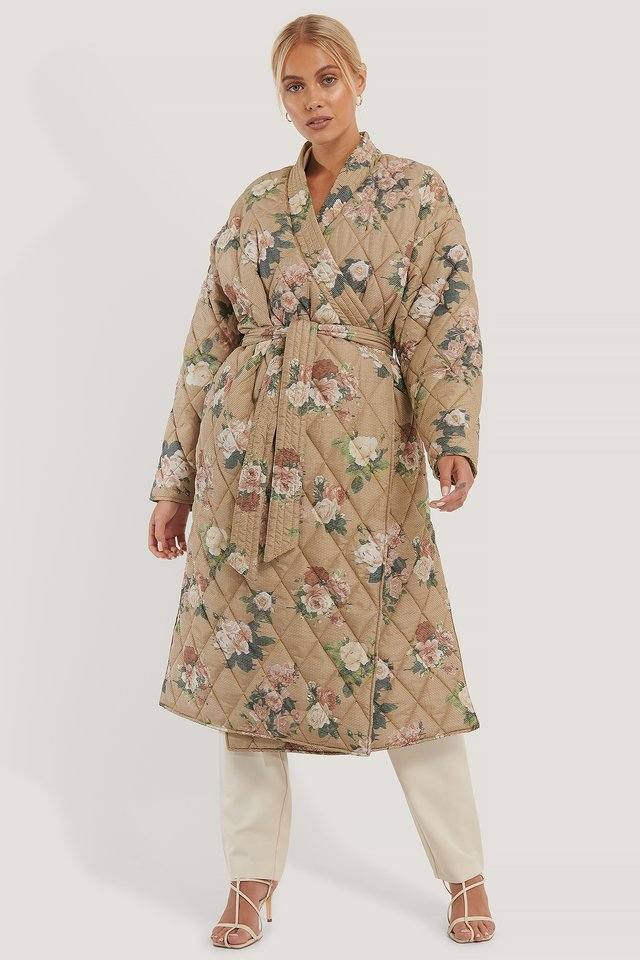 Flower Print Quilted Kimono Coat