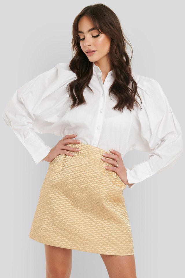 Quilted Mini Satin Skirt Beige
