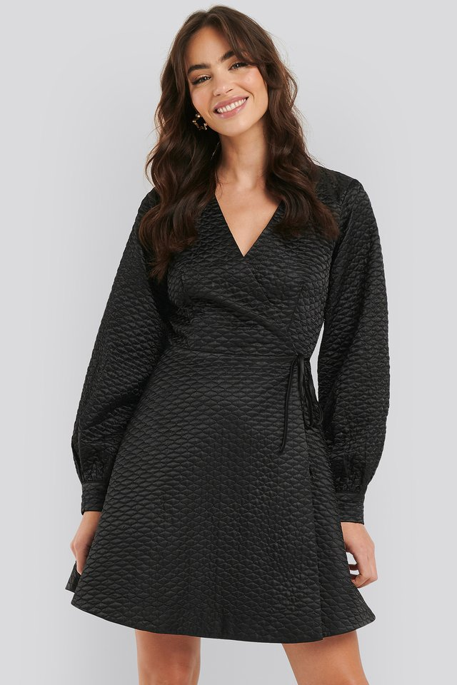 Quilted Overlap Satin Dress Black
