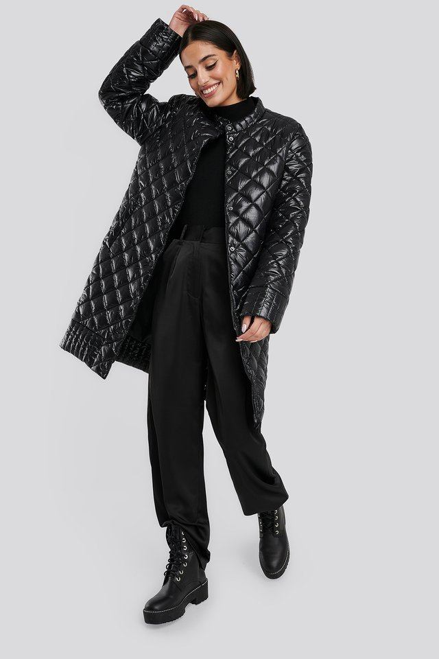 Quilted Padded Jacket Black