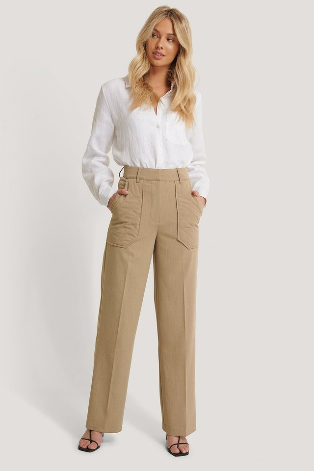 Quilted Pocket Suit Pants NA-KD Trend
