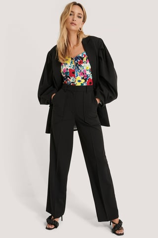 Black Quilted Pocket Suit Pants