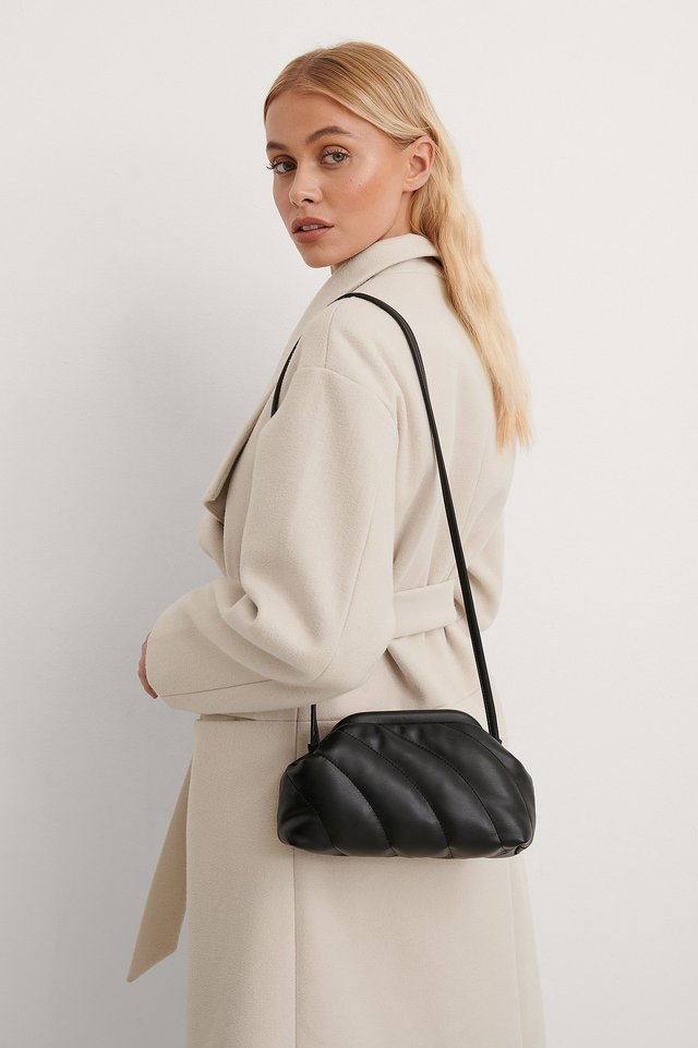 Black Quilted Pouch Bag