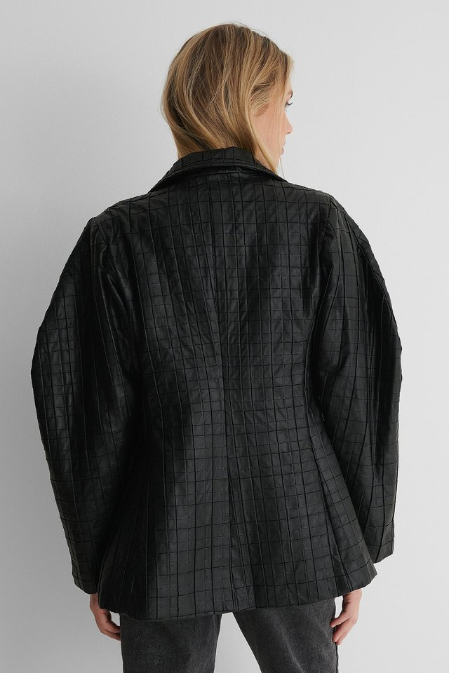 Black Quilted PU Blazer