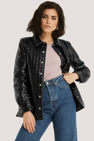 Black Quilted PU Jacket