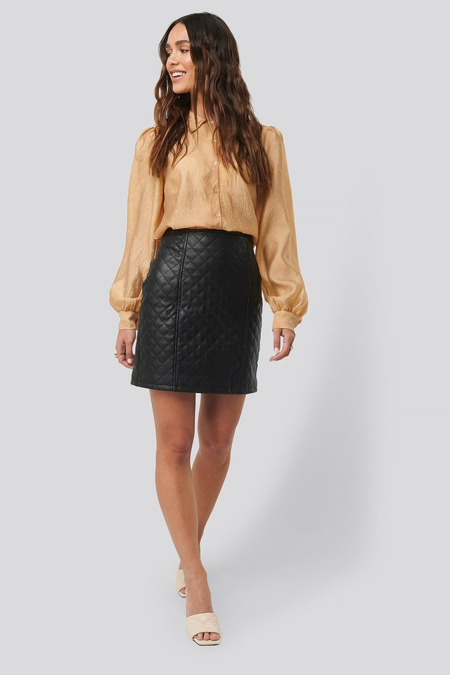 Quilted PU Skirt Black