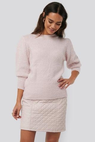 Light Pink Quilted PU Skirt